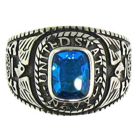 NAVY RING WITH BLUE STONE IN Stainless Steel