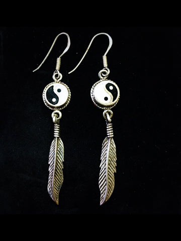 Ying Yang Feather sterling Silver Earrings