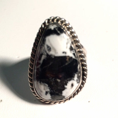 White Buffalo Size 9 Vintage Estate Ring Sterling Silver