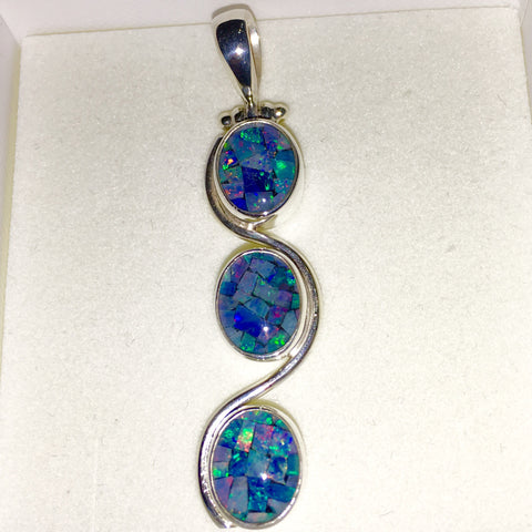 Mosaic Opal Pendant Three Drops Set in Sterling Silver