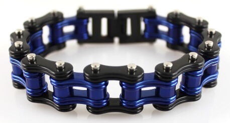 Wide Bright Blue & Black  Motorcycle Chain Bracelet in Stainless Steel