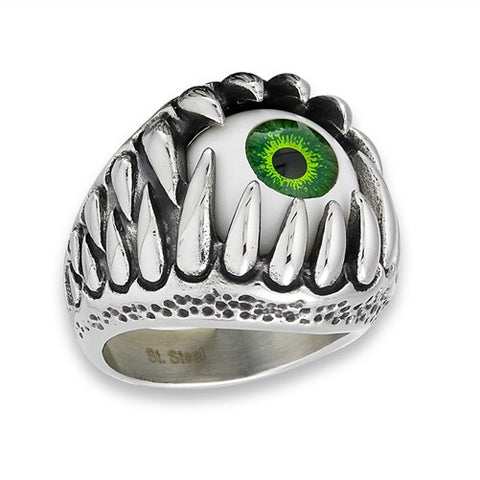 Bright Green Eye Ball Ring with Big Bad Teeth in Stainless Steel