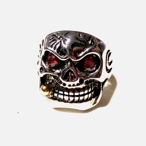 Red Eyed Cigar Sporting Skull Ring In Stainless Steel