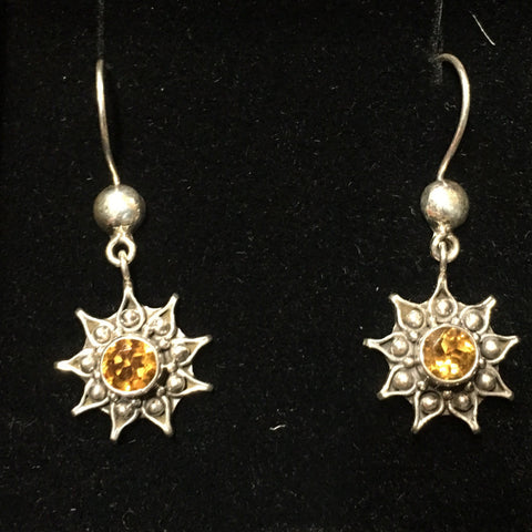 Cute Little Sun or Sun Flower Sterling Earrings Adorned with Bright Yellow Topaz Stones