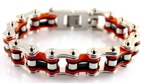 Wide Orange, Black and Stainless Steel Motorcycle Chain Bracelet