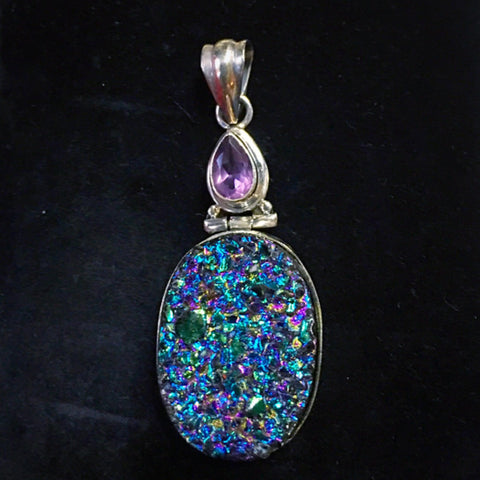 Awe Inspiring Oval Purple Druzy & Faceted Amethyst Sterling Pendant