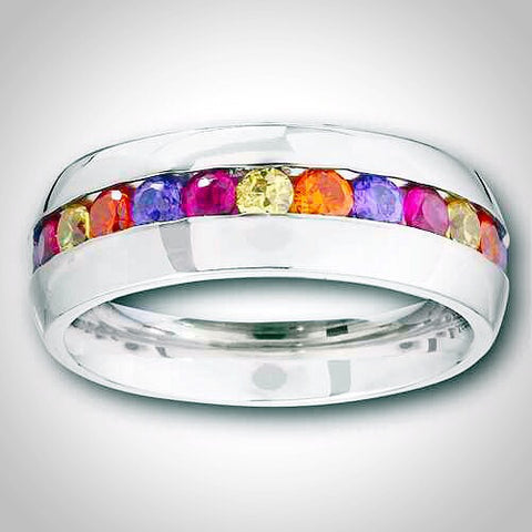 MULTICOLOR CUBIC ZIRCONIA  Channel Set Bnd in Stainless Steel