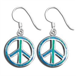 Peace Sign Earrings with Blue Opal Inlay