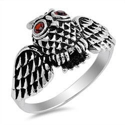 Owl Ring with Spread Wings and Red Eyes in Sterling