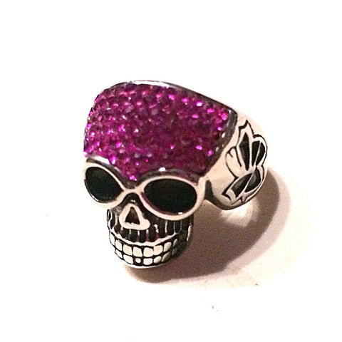 HOT Pink Fuchsia Bling Skull Ring in Stainless Steel