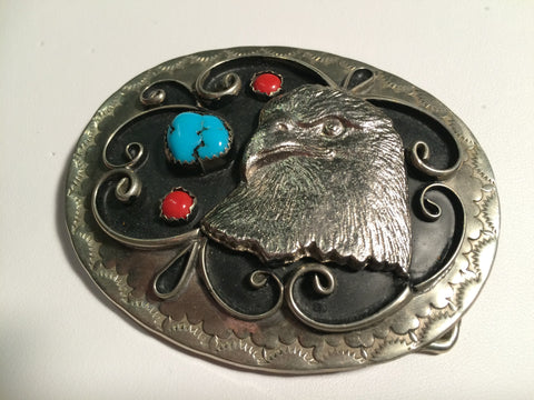 VINTAGE BELT BUCKLE with Coral  and Turquoise