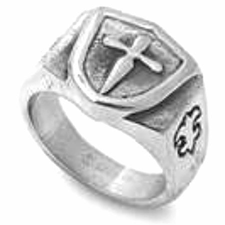 Sword Cross Shield Ring in Stainless Steel