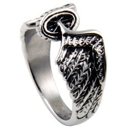 WHEEL AND WING RING WOMENS ANGEL WING STAINLESS STEEL