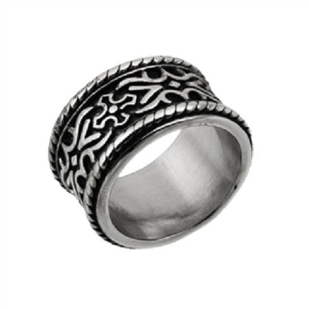 WIDE BLACK DESIGNER BAND RING IN STAINLESS STEEL WITH ROPE BORDER