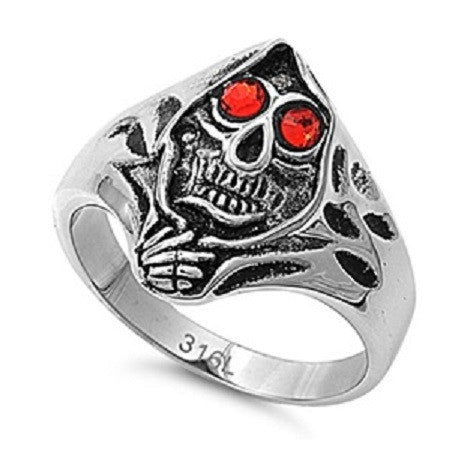 REAPER SKULL WITH REAPER SKULL WITH PIERCING RED EYES IN STAINLESS STEEL