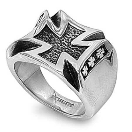 CONCAVED MALTESE TEXTURED CROSS FOR MEN IN STAINLESS STEEL