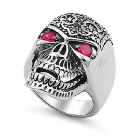 Double Ruby Red Eyed Fleur De Lis Skull with Teeth