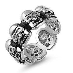 Multi Skull Band with Teeth in Stainless Steel Band