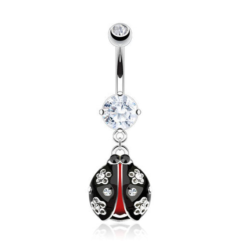 Black and Red Lady Bug Belly Ring with Princess white cz