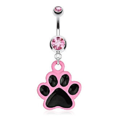 Black and Pink Paw Print Belly Ring with Princess Pink Ice cz