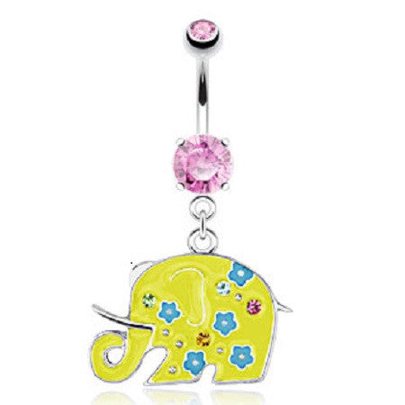Cute Yellow Elephant Belly Ring with Princess Cute Pink Ice