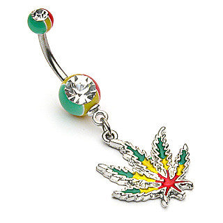 POT LEAF BELLY RING SURGICAL STEEL POST