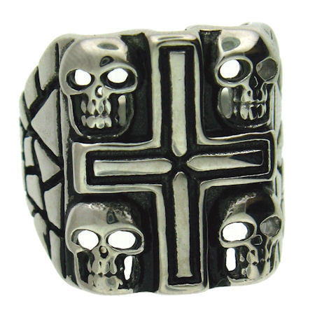 Cross and Skulls Ring in Stainless Steel
