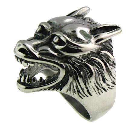 SNARLING WOLF HEAD RING in Stainless Steel