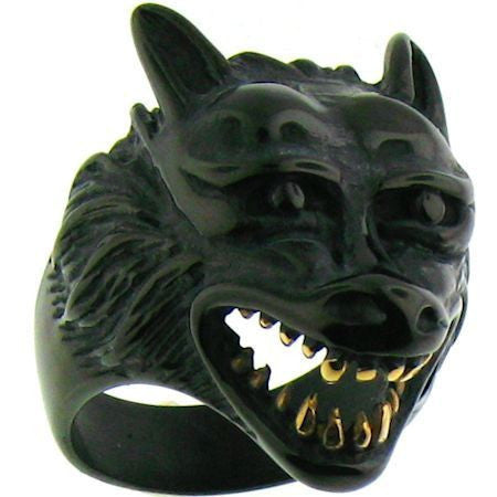 Big Bad Wolf Ring in Black with Gold Teeth Mens SIzes