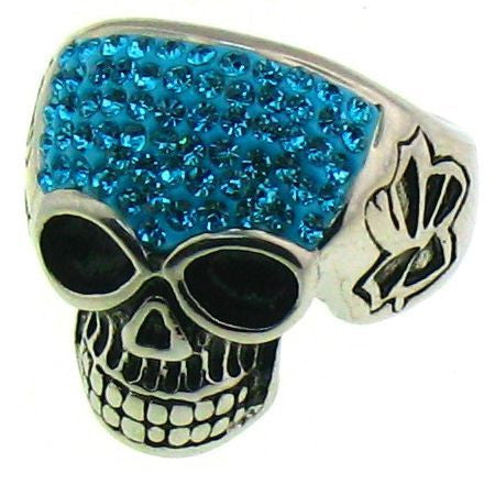 SPARKLY AQUA SKULL RING Stainless Steel