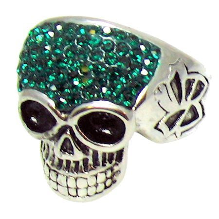 SPARKLY DEEP GREEN SKULL Ring in Stainless Steel