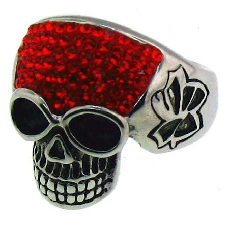 SPARKLY BRIGHT RED SKULL RING in Stainless Steel