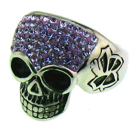Sparkly Purple Skull Ring in Stainless Steel