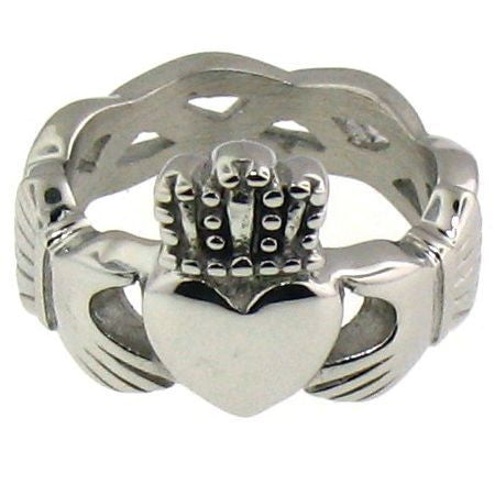 Claddagh Ring in Stainless Steel with a Celtic Knot Band