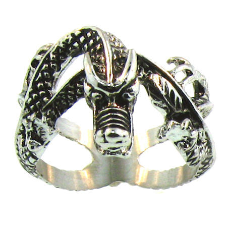 VERY DETAILED WRAP AROUND DRAGON RING IN STAINLESS STEEL FOR MEN