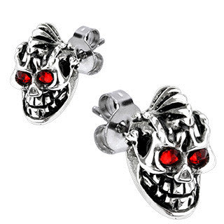 Skull Earrings with Red Eyes Stainless Steel