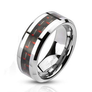 Carbon Fiber Red & Black Stainless Steel Comfort Fit Band/Ring 8mm wide