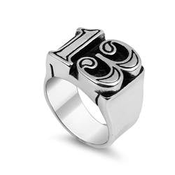 13 Thirteen Ring with Black Outline in Stainless Steel
