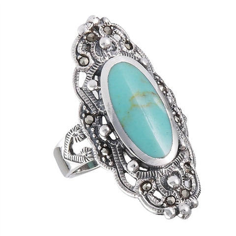 Sterling and Marcasite Ring in Turquoise