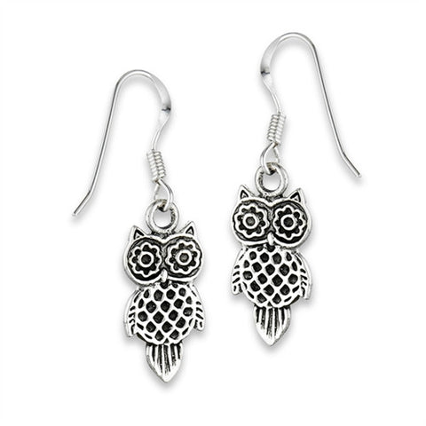 ADORABLE FILIGREE OWL Earrings in Sterling Silver  .925