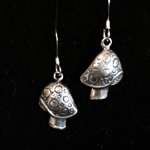 Mushroom Earrings in Sterling Silver .925