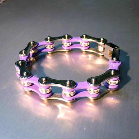 Biker Chain Bracelet in Purple it Sparkles in Stainless Steel
