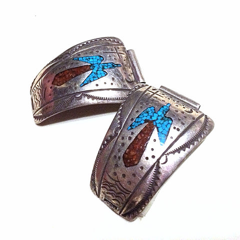 Turquoise & Coral Watch Band Vintage Sterling