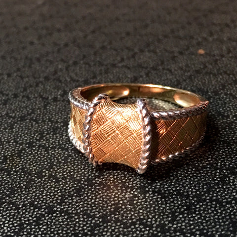 Woven Basket Ring in 14Kt Yellow Gold with White Gold Rope Trim