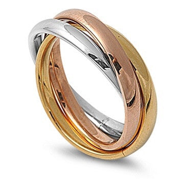 Triple Rolling Stainless Steel Ring Tri Color