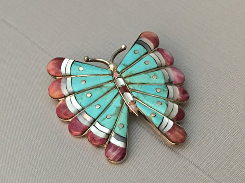 Vintage Inlaid Butterfly Pin Turquoise, Spiny Oyster, Mother of Pearl