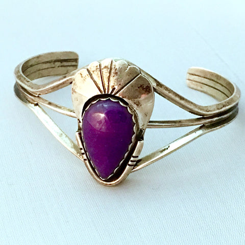 Sugilite and Sterling Vintage Teardrop Cuff Bracelet