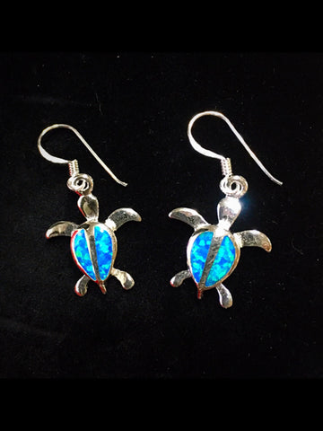 Sea Turtle Earrings Inlaid Blue Opal in Sterling Silver