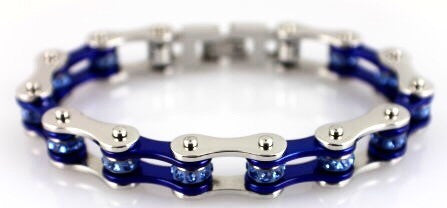 Biker Chain Bracelet in Blue Sparkles in Stainless Steel