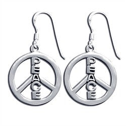Peace Peace Sign Earrings Sterling Silver